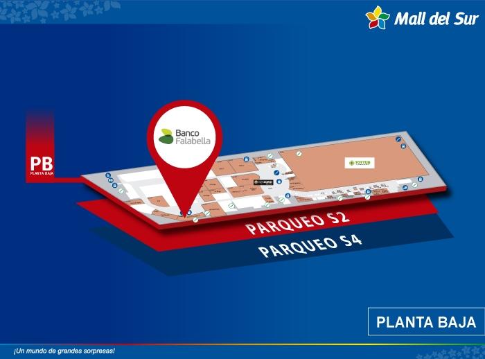 Banco Falabella - Mapa de Ubicación - Mall del Sur