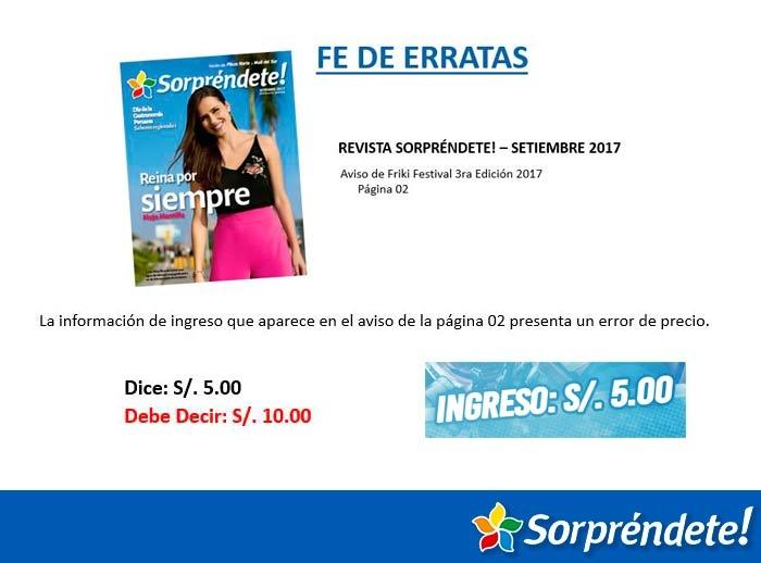 FE DE ERRATAS - FRIKI FESTIVAL - Mall del Sur