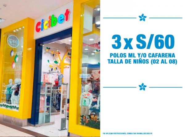 POLOS ML Y/O CAFARENAS TALLA NIÑOS 3 X S/60. Cicibet - Mall del Sur
