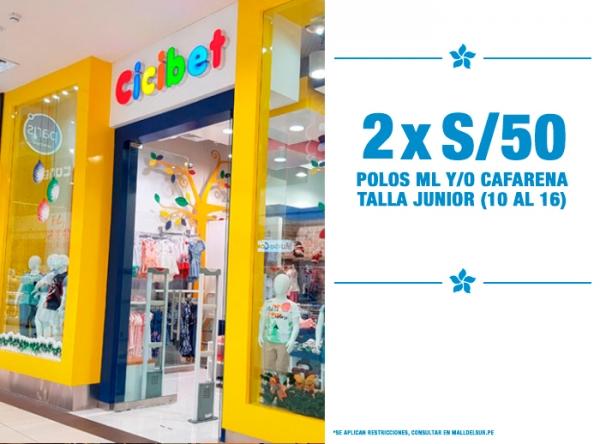 POLOS ML Y/O CAFARENAS TALLA JUNIOR 2 X S/50. Cicibet - Mall del Sur
