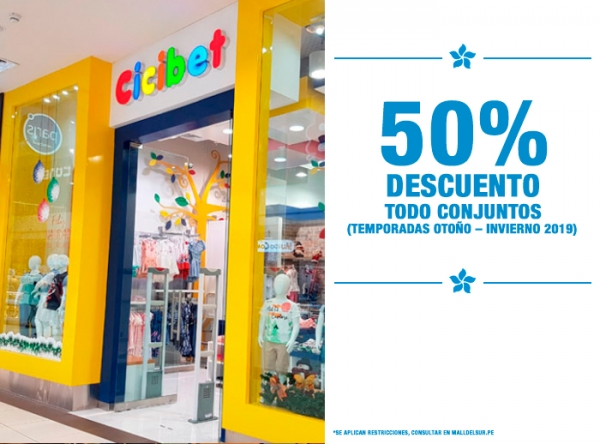 50% DCTO EN TODO CONJUNTOS Cicibet - Mall del Sur