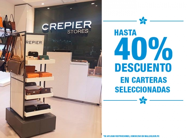 HASTA 40% DCTO EN CARTERAS SELECCIONADAS Crepier  - Mall del Sur