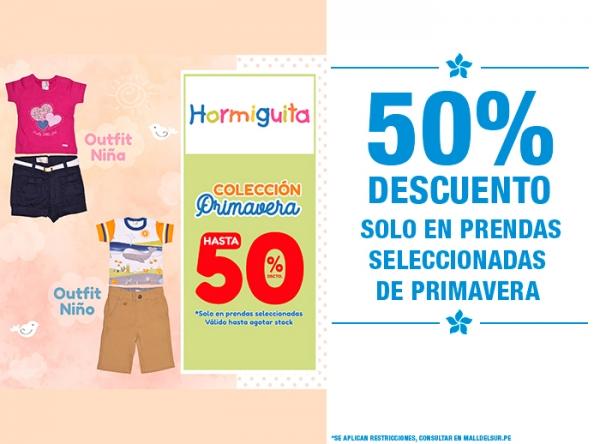 50% DCTO EN PRENDAS DE PRIMAVERA SELECCIONADAS Hormiguita - Mall del Sur