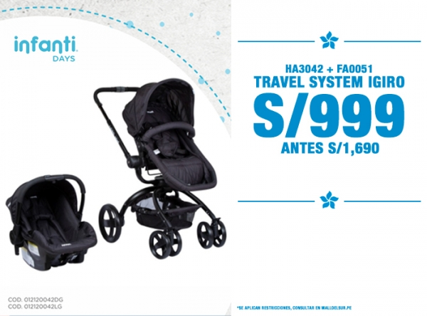 TRAVEL SYSTEM IGIRO A S/999. Baby Infanti - Mall del Sur
