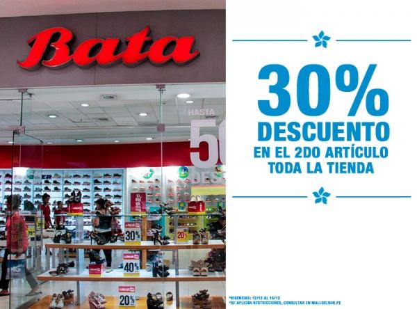 30% DCTO EN EL 2DO ARTÍCULO DE TODA LA TIENDA Bata - Mall del Sur