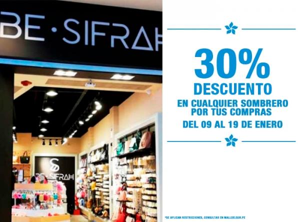 POR TUS COMPRAS 30% DCTO EN CUALQUIER SOMBRERO BE SIFRAH - Mall del Sur