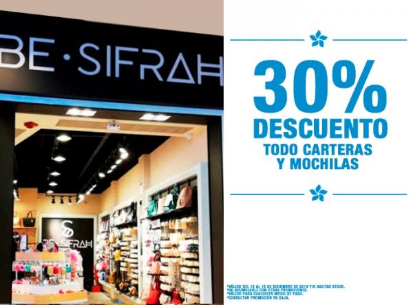 30% DCTO TODO CARTERAS Y MOCHILAS BE SIFRAH - Mall del Sur