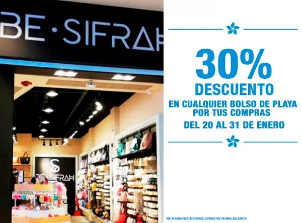 POR TUS COMPRAS 30% DCTO EN BOLSO DE PLAYA  BE SIFRAH - Mall del Sur