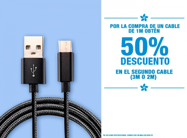 50% DCTO EN EL 2DO CABLE POR COMPRA DE UN CABLE DE 1M Be Smart - Mall del Sur