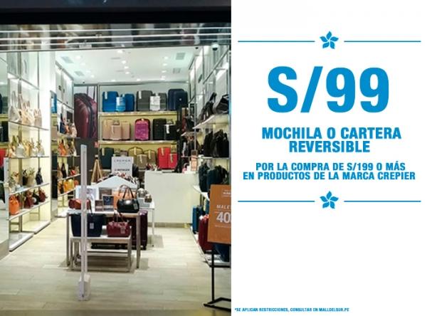 MOCHILA O CARTERA REVERSIBLE A S/99. Crepier  - Mall del Sur