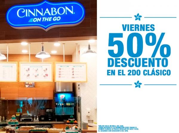 VIERNES DE 50% DCTO EN EL 2DO CLÁSICO CINNABON - Mall del Sur