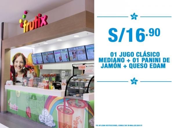 1 Jugo Clásico mediano + 01 panini de jamón + queso Edam a S/16.90 Frutix - Mall del Sur