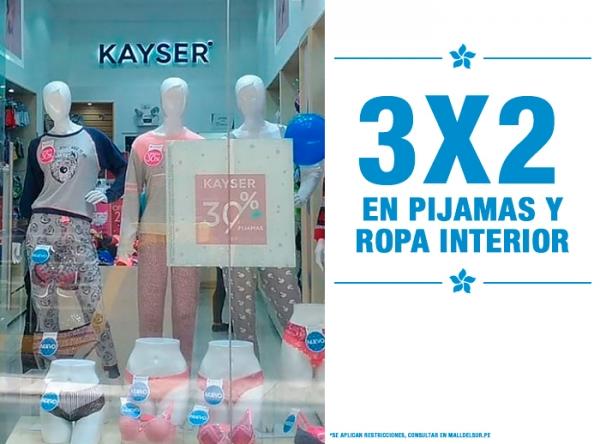 3x2 EN PIJAMAS Y ROPA INTERIOR KAYSER - Mall del Sur