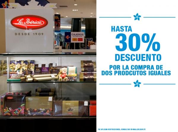 HASTA 30% DCTO POR LA COMPRA DE 2 PRODUCTOS IGUALES La Ibérica - Mall del Sur