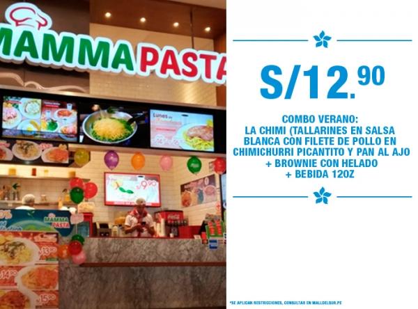 COMBO VERANO A SOLO S/12.90 MAMMA PASTA - Mall del Sur