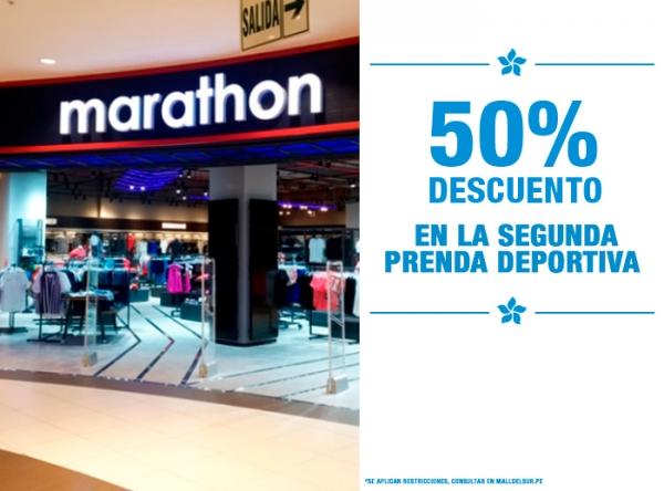 50% DCTO EN LA 2DA PRENDA DEPORTIVA MARATHON - Mall del Sur