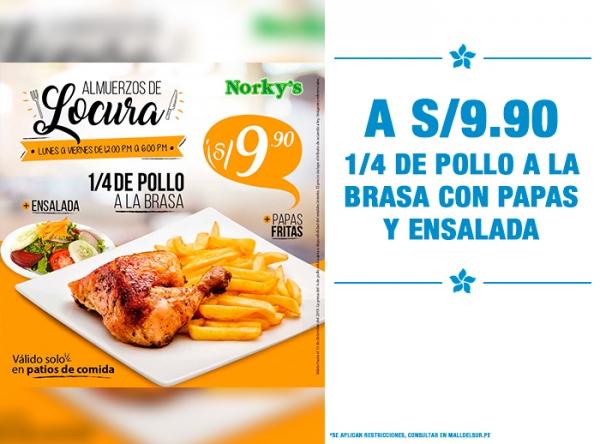 1/4 POLLO + PAPAS Y ENSALADA A S/9.90 Norky's - Mall del Sur