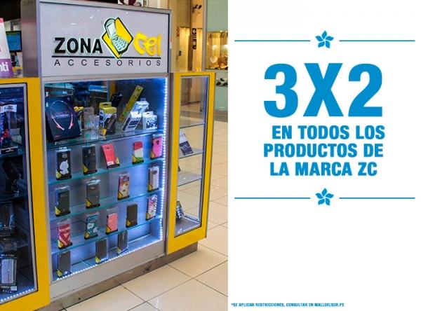 3 X 2 EN TODOS LOS PRODUCTOS DE LA MARCA ZC Zona Cel - Mall del Sur