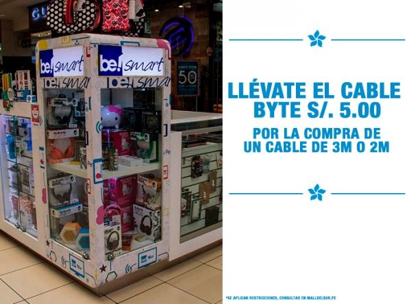 CABLE BYTE A S/5. POR COMPRA DE CABLE DE 3M O 2M Be Smart - Mall del Sur