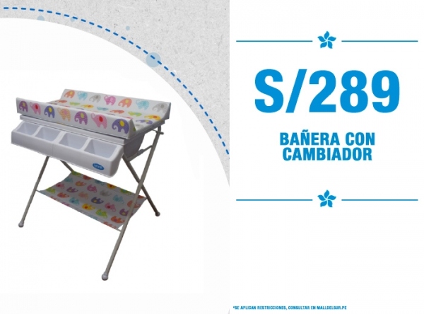 BAÑERA CON CAMBIADOR A SOLO S/289. Baby Infanti - Mall del Sur
