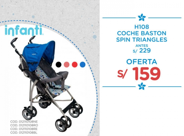 COCHE BASTON SPIN TRIANGLES A SOLO S/159. Baby Infanti - Mall del Sur