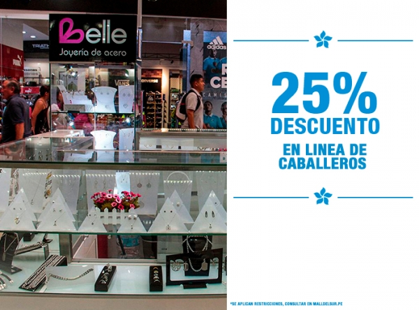 25% DCTO EN LÍNEA DE CABALLEROS - Belle Accesorios - Mall del Sur