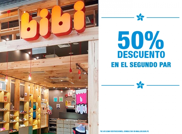 50% DCTO EN EL 2DO PAR - BIBI - Mall del Sur