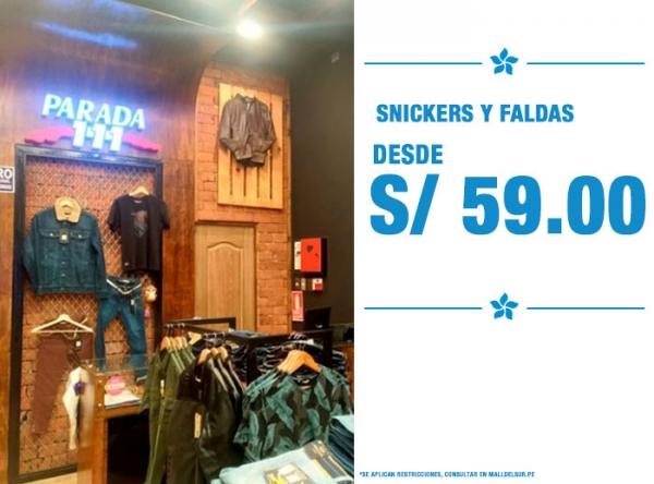 SNICKERS Y FALDAS DESDE S/59. - PARADA 111 - Mall del Sur