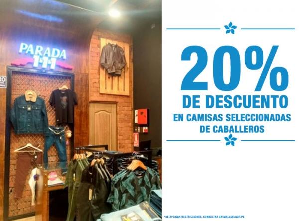 20% DCTO EN CAMISAS SELECCIONADAS DE CABALLEROS - PARADA 111 - Mall del Sur