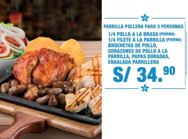 PARRILLA POLLERA PARA 2 PERSONAS A S/34.90 MEDITERRÁNEO - Mall del Sur