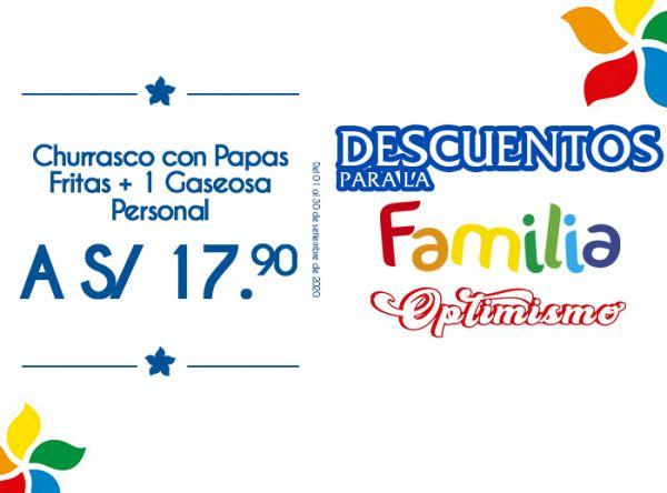 CHURRASCO CON PAPAS FRITAS + 1 GASEOSA PERSONAL A S/17.90 Otto Grill - Mall del Sur