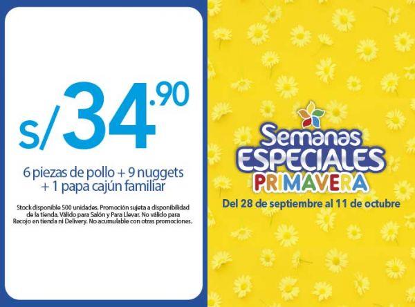 6 PIEZAS DE POLLO + 9 NUGGETS + 1 PAPA CAJÚN FAMILIAR A S/34.90 - Plaza Norte