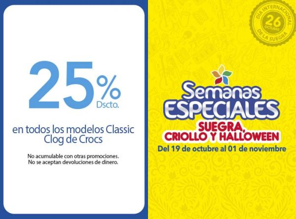25% DSCTO EN TODOS LOS MODELOS CLASSIC CLOG DE CROCS Crocs - Mall del Sur