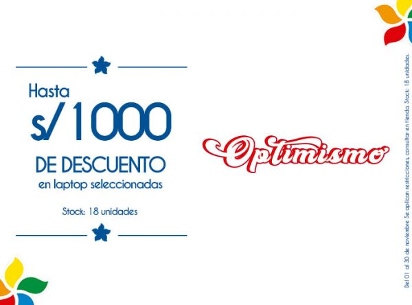 HASTA S/100.00 DSCTO EN LAPTOP SELECCIONADAS STOCK: 18 UNIDADES. - Plaza Norte