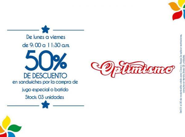DE LUNES A VIERNES DE 9:00 A 11:30 AM 50% DE DSCTO EN SANDWICHES POR LA COMPRA DE JUGO ESPECIAL O BATIDO. STOCK: 03 UNIDADES. - Plaza Norte