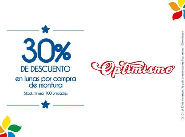 30% DCTO EN LUNAS POR COMPRA DE MONTURA. STOCK MÍNIMO:100 UNIDADES - Plaza Norte