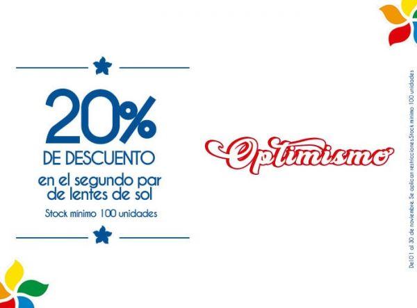 20% DCTO EN EL SEGUNDO PAR DE LENTES DE SOL. STOCK MÍNIMO: 100 UNIDADES - Plaza Norte