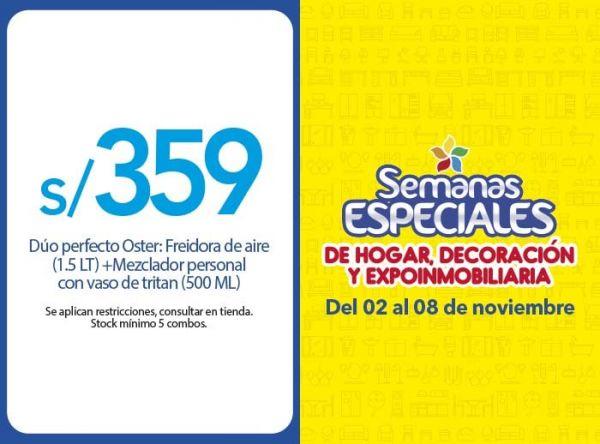 DUO PERFECTO OSTER: FREIDORA DE AIRE DE 1.5LT + MEZCLADOR PERSONAL CON VASO DE TRITAN DE 500ML A S/ 359.00  - Plaza Norte