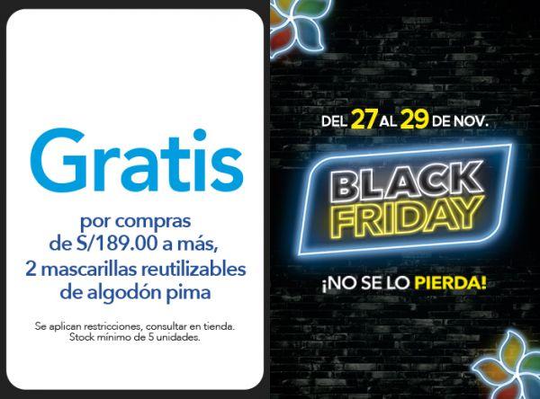 POR COMPRAS DE S/189.00 A MÁS, GRATIS 2 MASCARILLAS REUTILIZABLES DE ALGODÓN PIMA - Plaza Norte