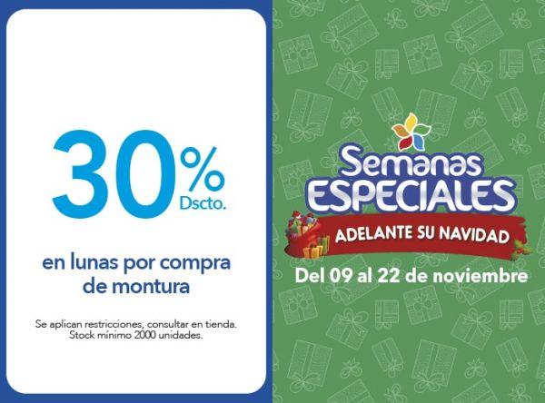 30% DSCTO. EN LUNAS POR COMPRA DE MONTURA - Plaza Norte