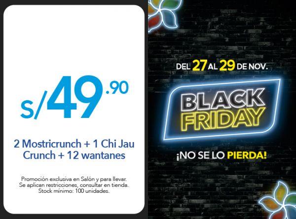 2 MOSTRICRUNCH + 1 CHI JAU CRUNCH + 12 WANTANES A S/. 49.90 - Plaza Norte