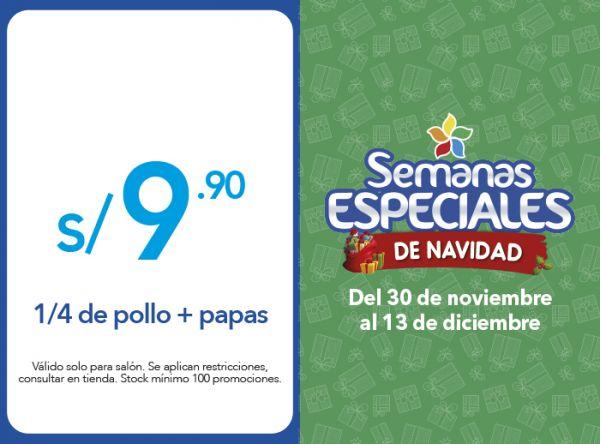 1/4 DE POLLO + PAPAS A S/ 9.90 - Mediterraneo - Mall del Sur