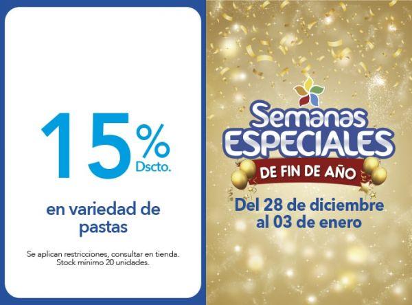 15% DSCTO. EN VARIEDAD DE PASTAS - Plaza Norte