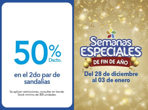 50% DSCTO.EN EL 2DO PAR DE SANDALIAS - Plaza Norte