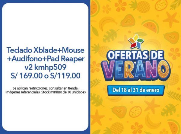 Teclado Xblade+Mouse+Audifono+Pad Reaper v2 kmhp509 S/ 169.00 o S/119.00 (combos seleccionados) COMPUUSA - Mall del Sur