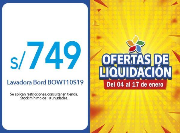 LAVADORA BORD BOWT10S19 A S/749.00 EFE - Mall del Sur