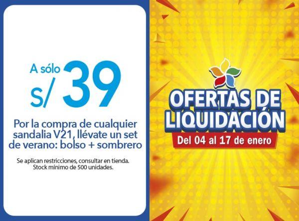 POR LA COMPRA DE CUALQUIER SANDALIA V21, LLÉVATE UN SET DE VERANO: BOLSO + SOMBRERO A SOLO S/ 39.00 FOOTLOOSE - Mall del Sur