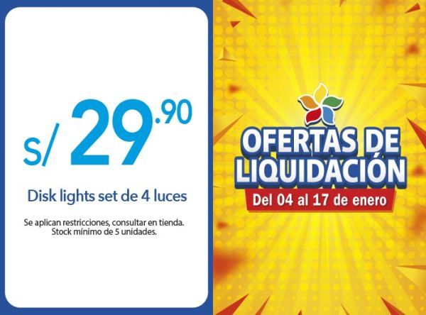 DISK LIGHTS SET DE 4 LUCES S/ 29.90 Quality Store - Mall del Sur