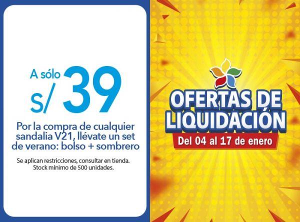 POR LA COMPRA DE CUALQUIER SANDALIA V21, LLÉVATE UN SET DE VERANO: BOLSO + SOMBRERO A SOLO S/ 39.00 Top Model - Mall del Sur