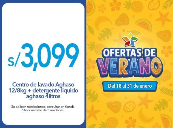 Centro de lavado Aghaso 12/8kg + detergente liquido aghaso 4litros a S /. 3,099.00 AGHASO - Mall del Sur